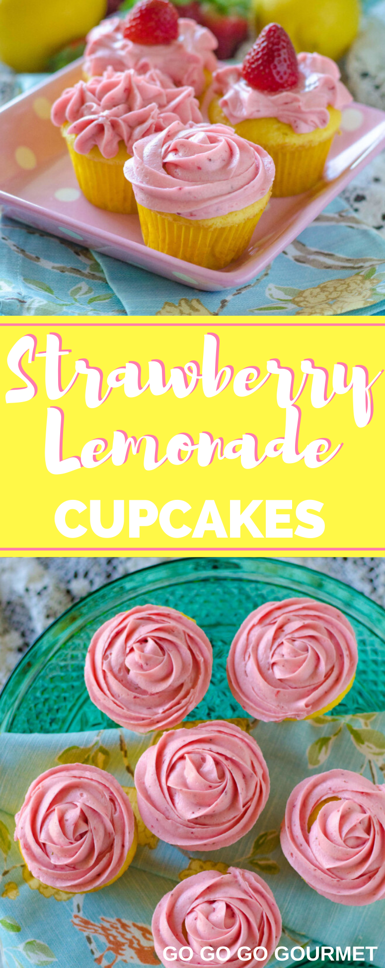 These beautiful, easy Strawberry Lemonade Cupcakes with filling recipe will have you longing for warm summer days! A box lemon cake filled with a lemon curd and topped with a super-easy, super-delicious strawberry buttercream made from scratch! Made even easier with cake mix! #gogogogourmet #strawberrylemonadecupcakes #homemadecupcakes #summerdesserts via @gogogogourmet