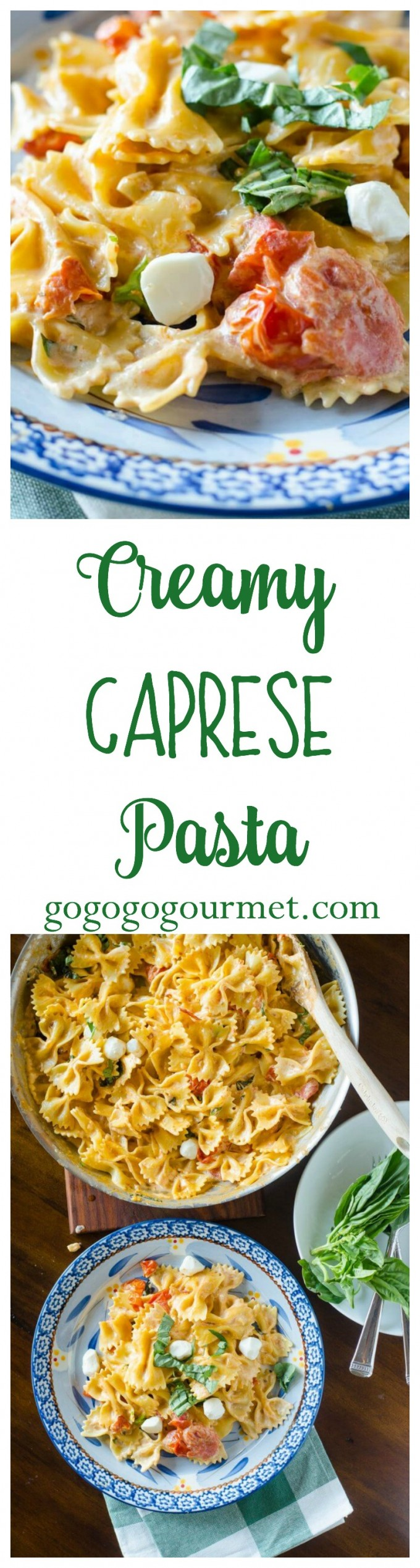 Fast and easy (and cheesy!!), this creamy tomato pasta dinner, loaded with fresh mozzarella and basil, is sure to be a hit with the whole family! Creamy Caprese Pasta | Go Go Go Gourmet @gogogogourmet via @gogogogourmet