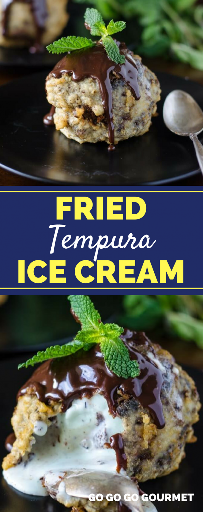 Fried ice cream is my favorite dessert to order at a Mexican restaurant. But this easy Fried Tempura Ice Cream recipe with Mint Chocolate Truffles is a homemade, no fry dessert that will keep you coming back for more! #easyfriedicecreamrecipe #friedtempuraicecream #homemadedesserts #gogogogourmet via @gogogogourmet