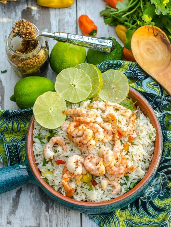 Honey Mustard Lime Shrimp- serve it with my tropical rice for dinner, or on its own as a quick and easy appetizer! | Go Go Go Gourmet @gogogogourmet