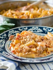 One Pot Pasta with Shrimp, Sausage and Vodka Sauce- less than 30 minutes, packed with flavor, and only one pan to clean! | Go Go Go Gourmet @gogogogourmet