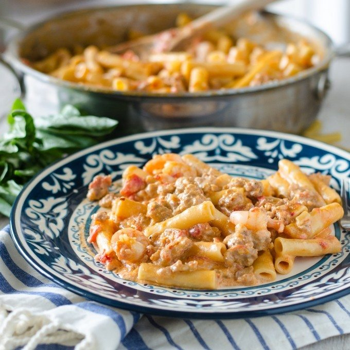 One Pot Pasta with Shrimp, Sausage and Vodka Sauce