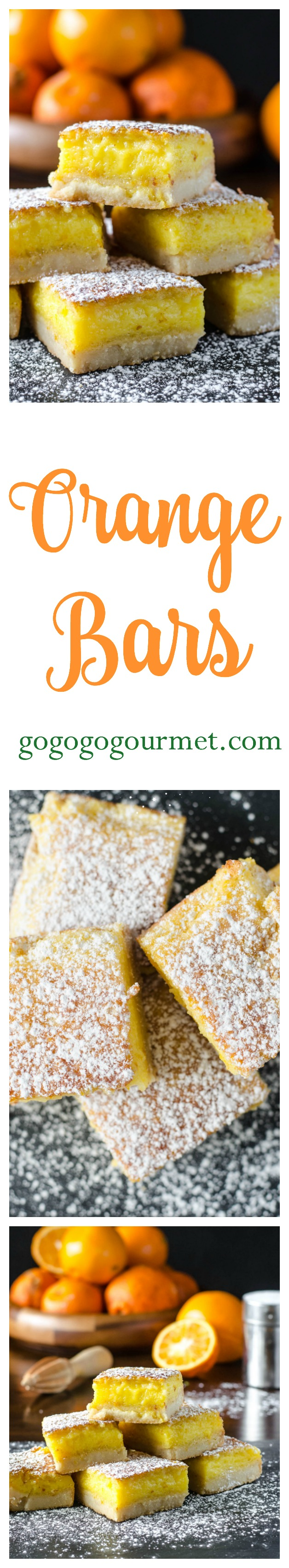Use some delicious in-season citrus to make these Orange bars- a clever twist on lemon bars! A delicious crust, topped with a thick layer of sweet and tart orange filling- you'd never guess that they're so simple to make! | Go Go Go Gourmet @Go Go Go Gourmet via @gogogogourmet