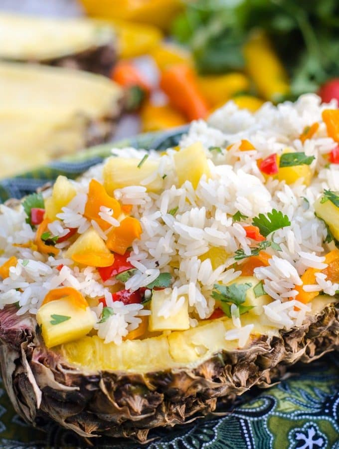 Tropical Pineapple Cilantro Rice- a quick and easy side dish! | Go Go Go Gourmet @gogogogourmet
