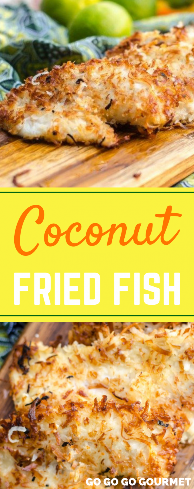 This Coconut Crusted Fried Fish recipe is a surefire way to add a little island flair to your day! Only a handful of pantry-ready ingredients and ready in under 30 minutes. It is one of the best fried fish recipes! #gogogogourmet #coconutfriedfish #easyfishrecipes #friedfishrecipes via @gogogogourmet