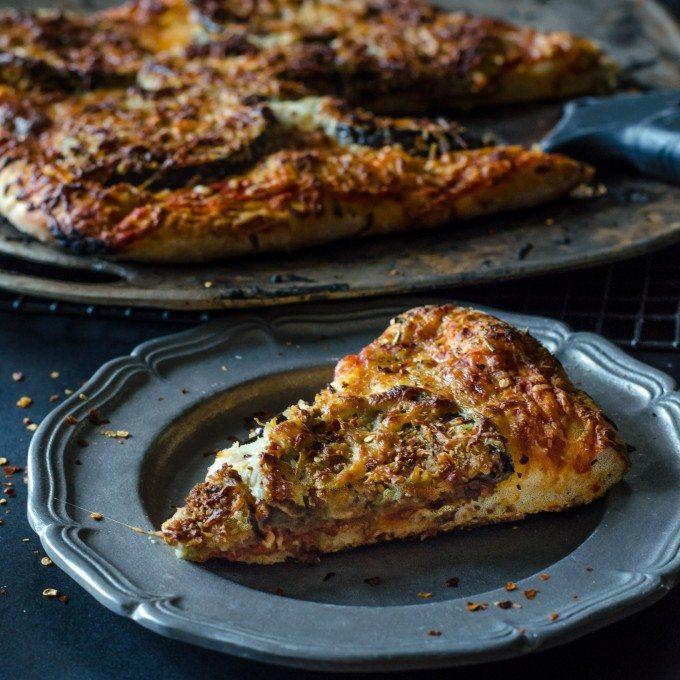 Eggplant Parmigiana Pizza| Go Go Go Gourmet @gogogogourmet