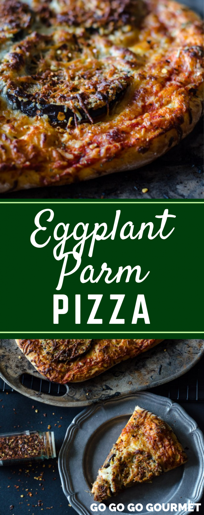 This easy Eggplant Parmigiana Pizza recipe is a delicious way to embrace the flavors of Italy! Full of authentic Italian flavor, this vegetarian dish is sure to become an instant family favorite! #gogogogourmet #eggplantparmigianapizza #eggplantparmigiana #eggplantparmesan via @gogogogourmet