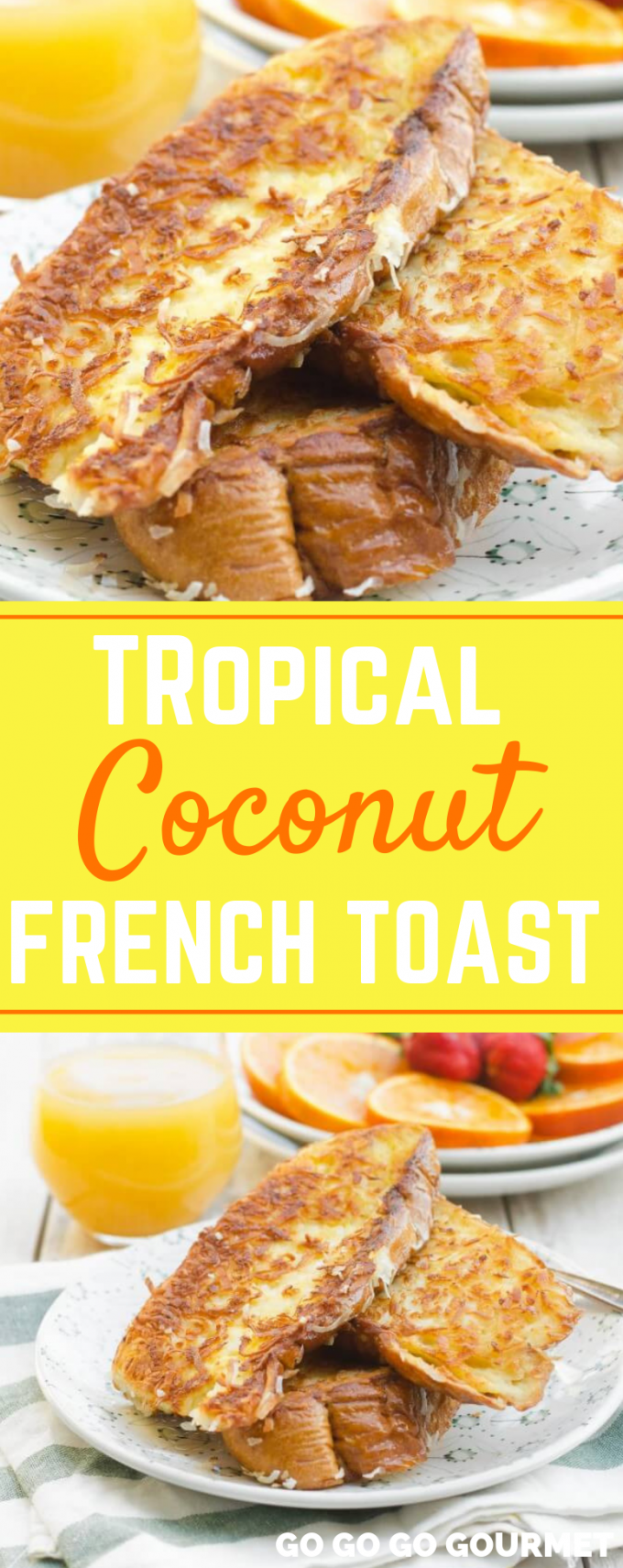 This Hummingbird Tropical Coconut French Toast brings the flavors of the tropics to your breakfast table! It's perfect topped with syrup, blueberries, or any other tropical fruits. No need to prepare overnight or bake it in the oven; you can have this dish ready in under 20 minutes! #gogogogourmet #coconutfrenchtoast #himmingbirdtropicalfrenchtoast via @gogogogourmet