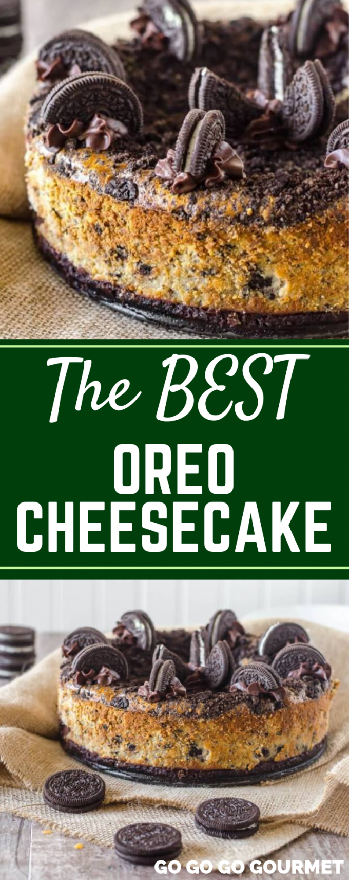 While this recipe isn't no bake, this Oreo Cheesecake is so easy! With over 40 Oreo cookies, you'll have a slice of this cheesecake gone in just a few bites! It has a layer of chocolate ganache over the crust, and it really it the best! #gogogogourmet #oreocheesecake #bestoreocheesecakerecipe #easycheesecakerecipes via @gogogogourmet