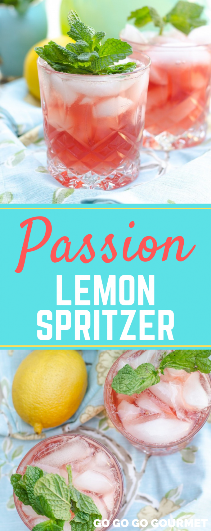 This non-alcoholic Passion Lemon Spritzer is the perfect refreshing drink for summer! Whether you leave it virgin or add vodka or any of the white wines, this is sure to become one of your favorite drink recipes! #gogogogourmet #passionlemonspritzer #summercocktailrecipes #easyspritzerrecipes via @gogogogourmet