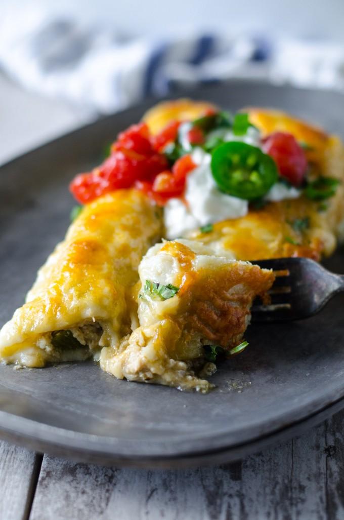 Poblano Chicken Enchiladas   Go Go Go Gourmet @gogogogourmet