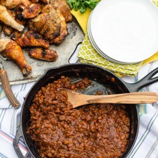 Spicy BBQ Baked Beans- a semi homemade side dish, perfect for all your summer cookouts!   Go Go Go Gourmet @gogogogourmet