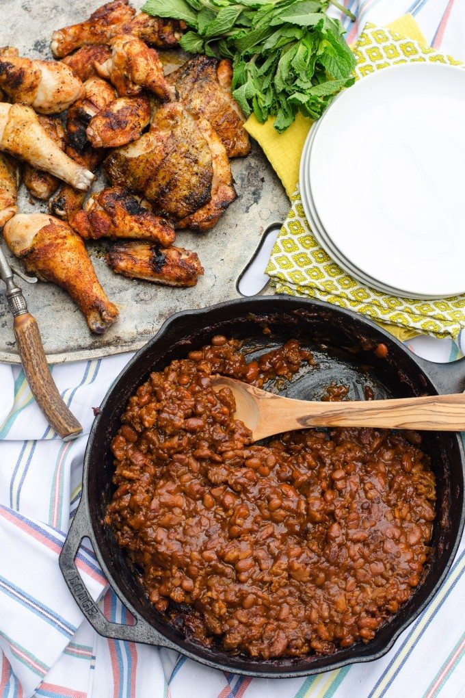 Spicy BBQ Baked Beans- a semi homemade side dish, perfect for all your summer cookouts! | Go Go Go Gourmet @gogogogourmet