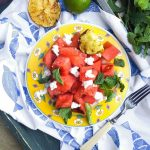 Grilled Watermelon Salad- a new twist on summer's bounty of watermelon, featuring goat cheese, mint and grilled limes!   Go Go Go Gourmet @gogogogourmet
