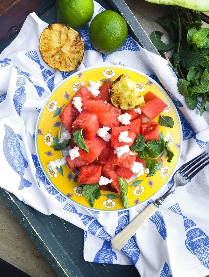Grilled Watermelon Salad- a new twist on summer's bounty of watermelon, featuring goat cheese, mint and grilled limes! | Go Go Go Gourmet @gogogogourmet