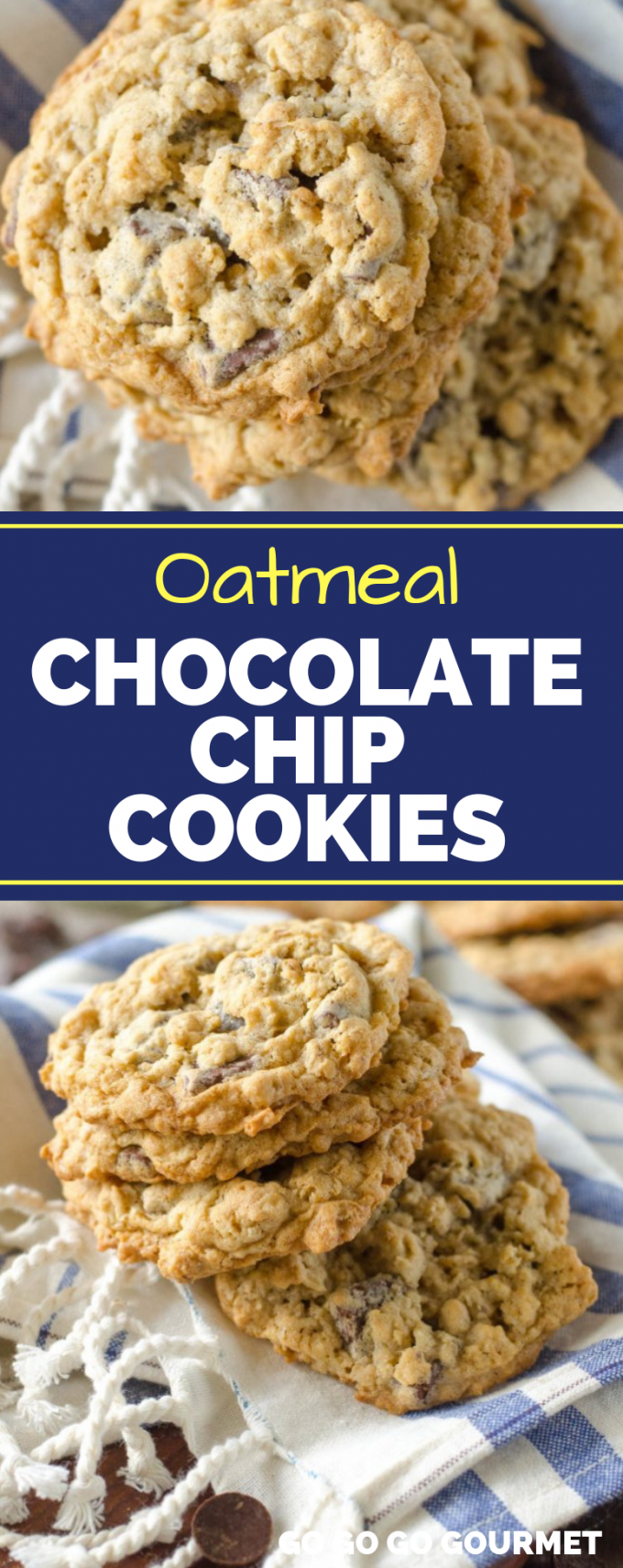 These easy, chewy Oatmeal Chocolate Chip Cookies are the best! These soft cookies are even better than the Pioneer Woman recipe! You could even take them up a notch with walnuts or peanut butter! #gogogogourmet #oatmealchocolatechipcookies #easycookierecipes #easydessertrecipes via @gogogogourmet