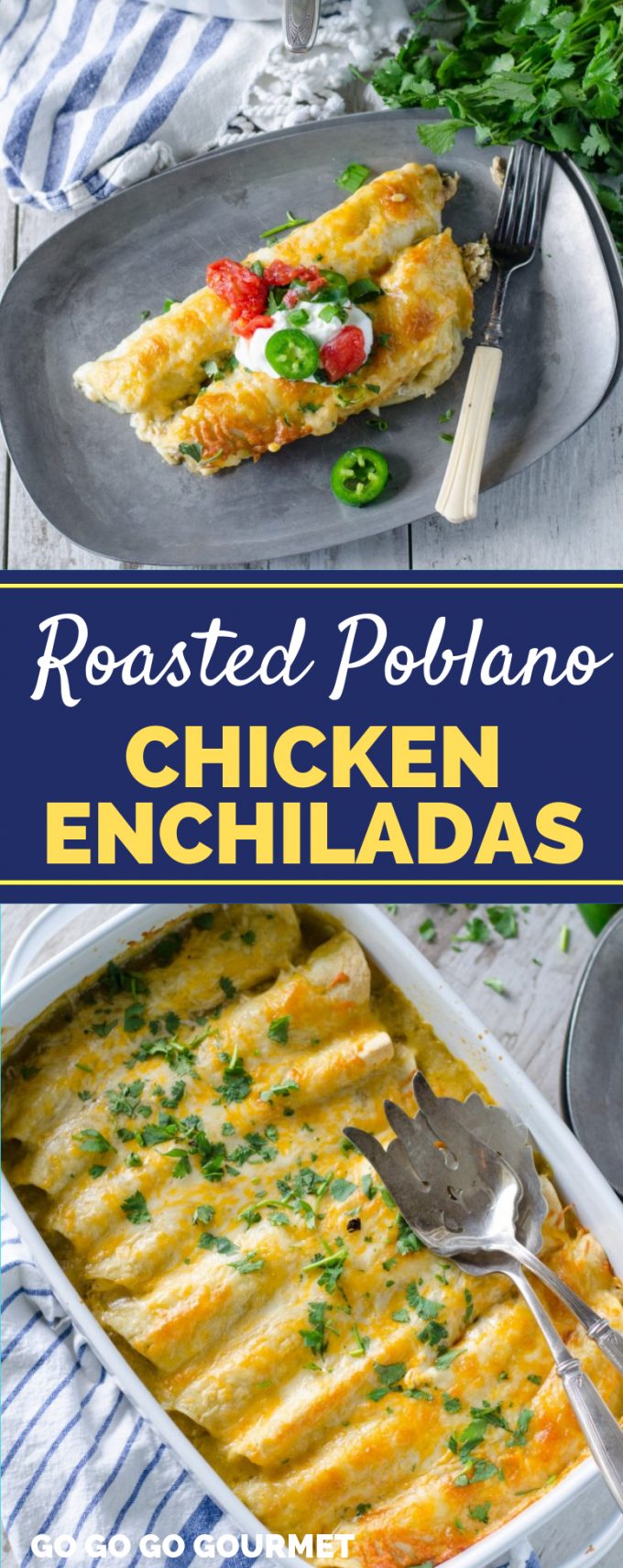 These easy Roasted Poblano Chicken Enchiladas are even better than the Pioneer Woman recipe! This authentic Mexican dish is creamy, delicious, and super easy to make for any weeknight dinner! #gogogogourmet #chickenenchiladas #authenticmexicanfood #mexicanrecipes via @gogogogourmet