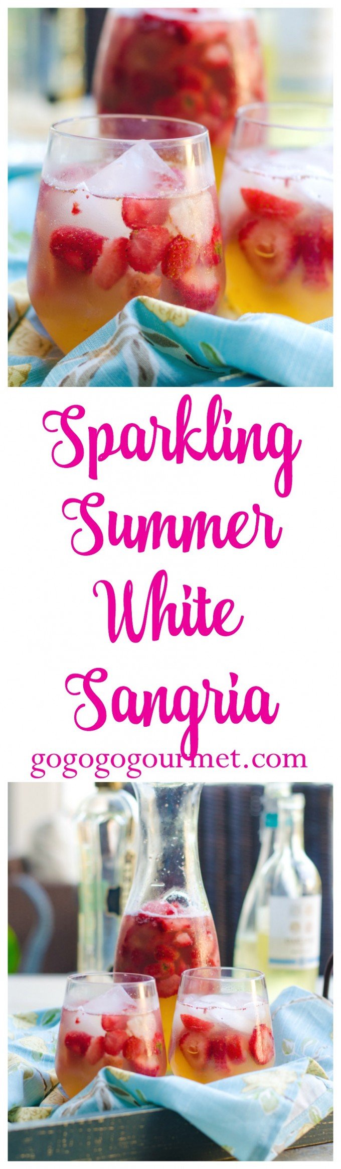 Light and refreshing, with just a bit of citrus and elderflower, you're sure to be drinking this sparkling white sangria all summer long! Sparkling Summer White Sangria | Go Go Go Gourmet @Go Go Go Gourmet