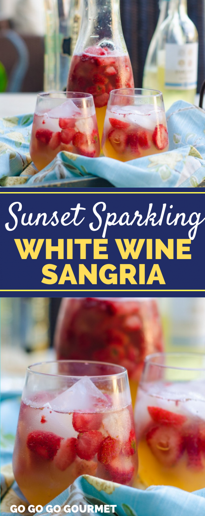 Summer pitcher drinks don't get any better than this Sunset Sparkling White Wine Sangria recipe! With lots of juice and fresh fruit, this will e your new favorite summer cocktail! #gogogogourmet #sunsetsparklingwhitewinesangria #easysangriarecipes #whitewinesangria via @gogogogourmet