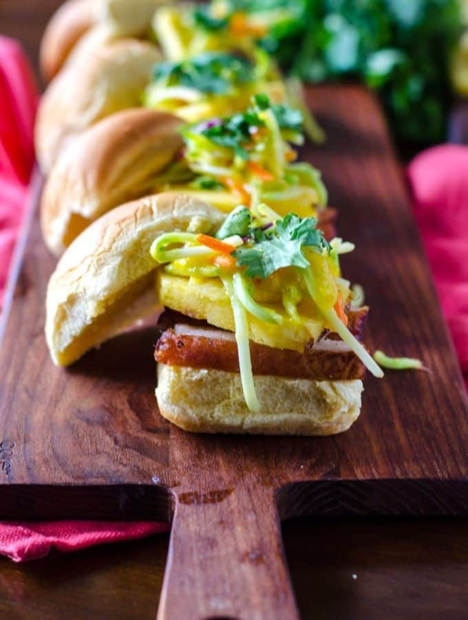 Blackened Pork Belly with Mango Pineapple Slaw