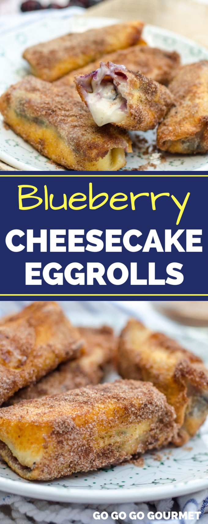 A cross between a cheesecake and an elephant ear, these easy, fried desserts are totally delish! These No Bake Blueberry Ricotta Cheesecake Eggrolls would be even better served with a strawberry dipping sauce or even whipped cream! #gogogogourmet #cheesecakeeggrolls #nobakedesserts #blueberrycheesecakeeggrolls via @gogogogourmet