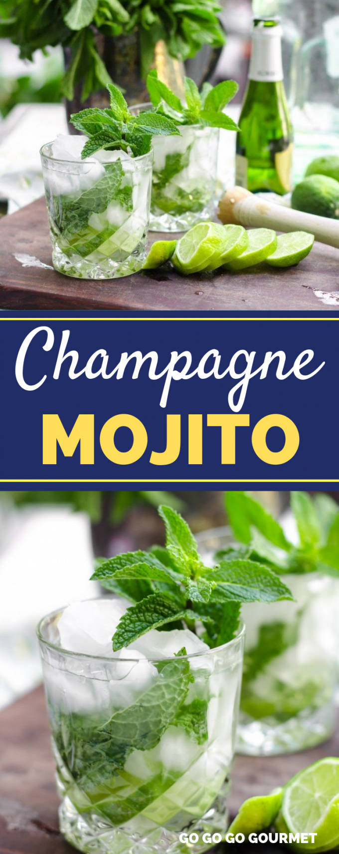 When it comes to cocktails, these Champagne Mojitos are the best! With lime juice, rum, simple syrup and a sparkling wine like champagne, they are super refreshing and perfect for summer! #gogogogourmet #champagnemojitos #mojitorecipes #summercocktails via @gogogogourmet