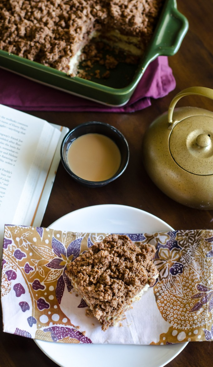 Overhead view of Cinnamon Streusel Coffee Cake on a plate
