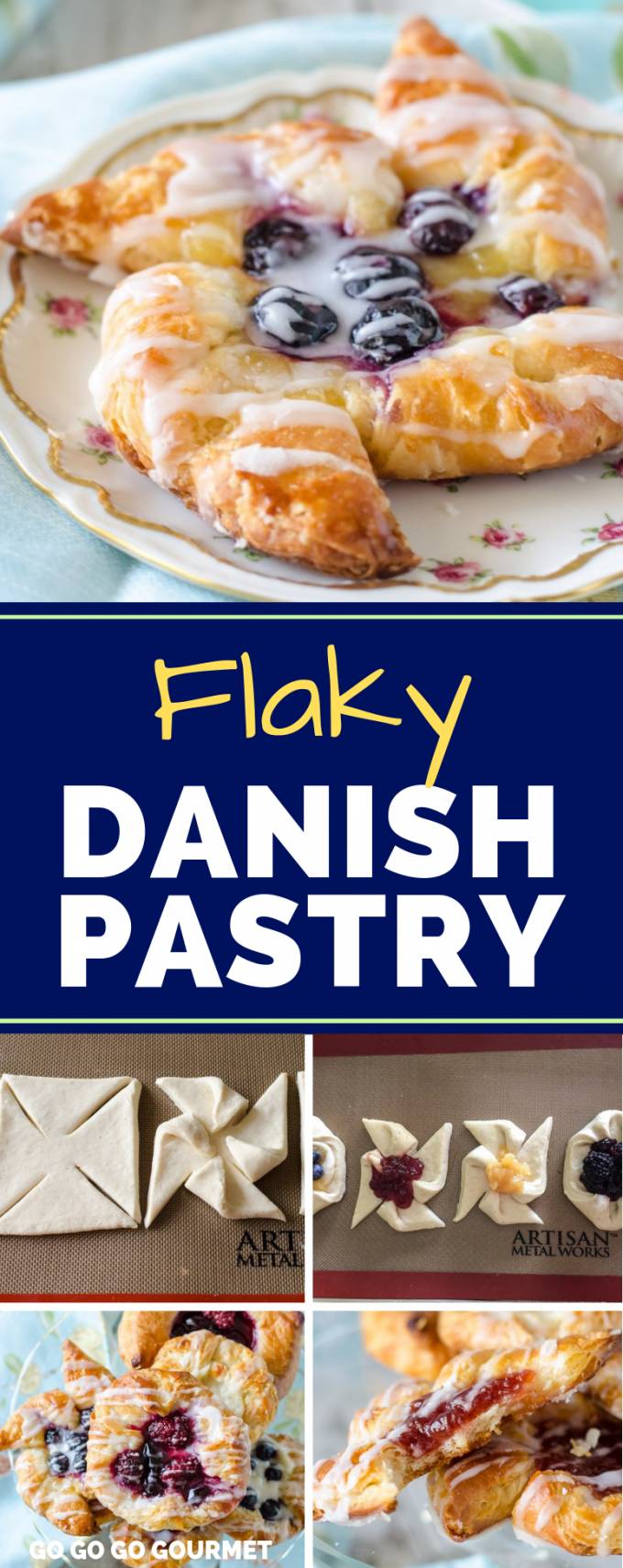 These flaky Danish pastries use an easy homemade dough recipe (for either crescent rolls or croissants!) You can use any type of filling and any number of shapes for this traditional breakfast treat! #gogogogourmet #flakydanishpastry #danishpastry #breakfastpastry  via @gogogogourmet