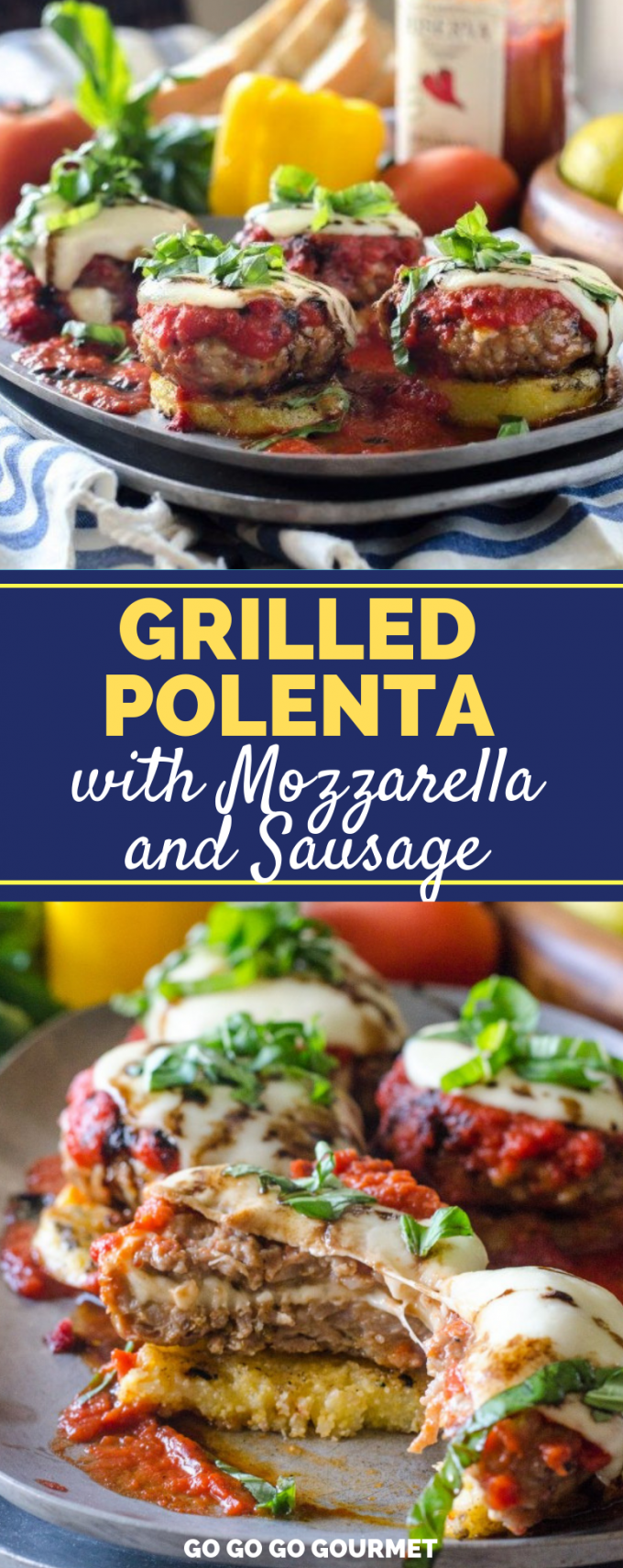 These Grilled Polenta cakes are exactly what you need to make this summer! Whether served as appetizers or dinners, this is one of the best polenta recipes ever! #gogogogourmet #grilledpolenta #griledpolentarecipe #bestgrilledpolentarecipe via @gogogogourmet