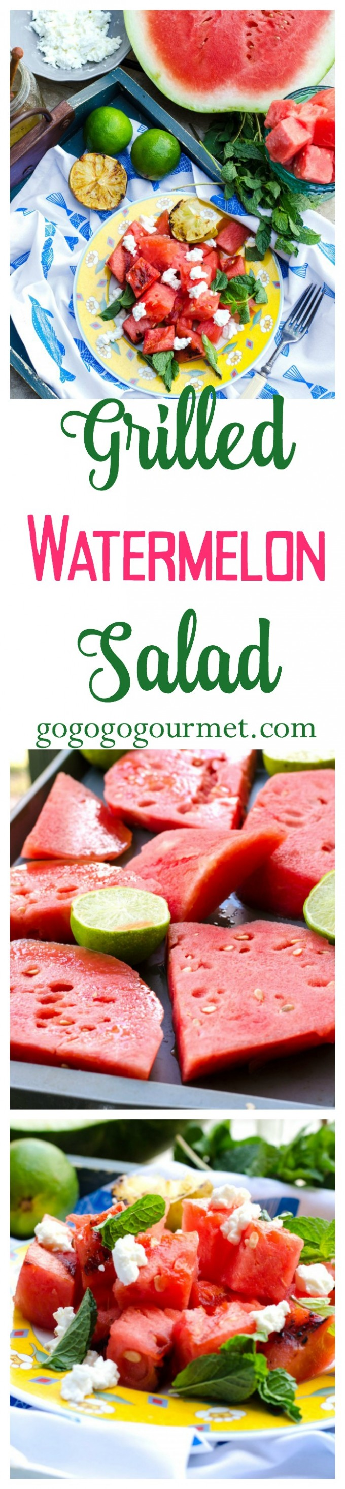 Fresh watermelon is the perfect sign that summer is here! Try this new twist on it- charred on the grill, with goat cheese, honey, lime and mint! Grilled Watermelon Salad | Go Go Go Gourmet @Go Go Go Gourmet