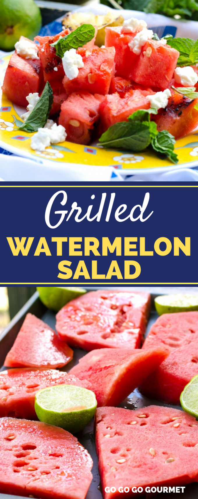 Fresh watermelon is the perfect sign that summer is here! Try this new twist on it- charred on the grill, with goat cheese, honey, lime and mint! This Grilled Watermelon Salad is even sweet enough to serve as a dessert! #gogogogourmet #grilledwatermelonsalad #grilledwatermelon #summersalads via @gogogogourmet