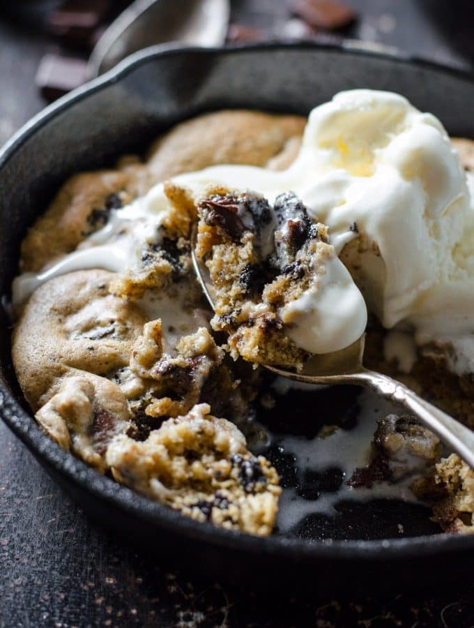 Oreo Chocolate Chip Skillet Cookie