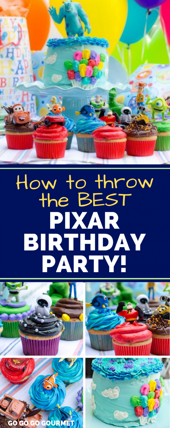 What do you do when a little boy is turning 3 and LOVES Disney and Pixar movies?? Why you throw him a Pixar party, complete with a Pixar cake and 13 individually themed Pixar cupcakes! #gogogogourmet #pixar #disney #pixarbirthday #pixarbirthdaycake via @gogogogourmet