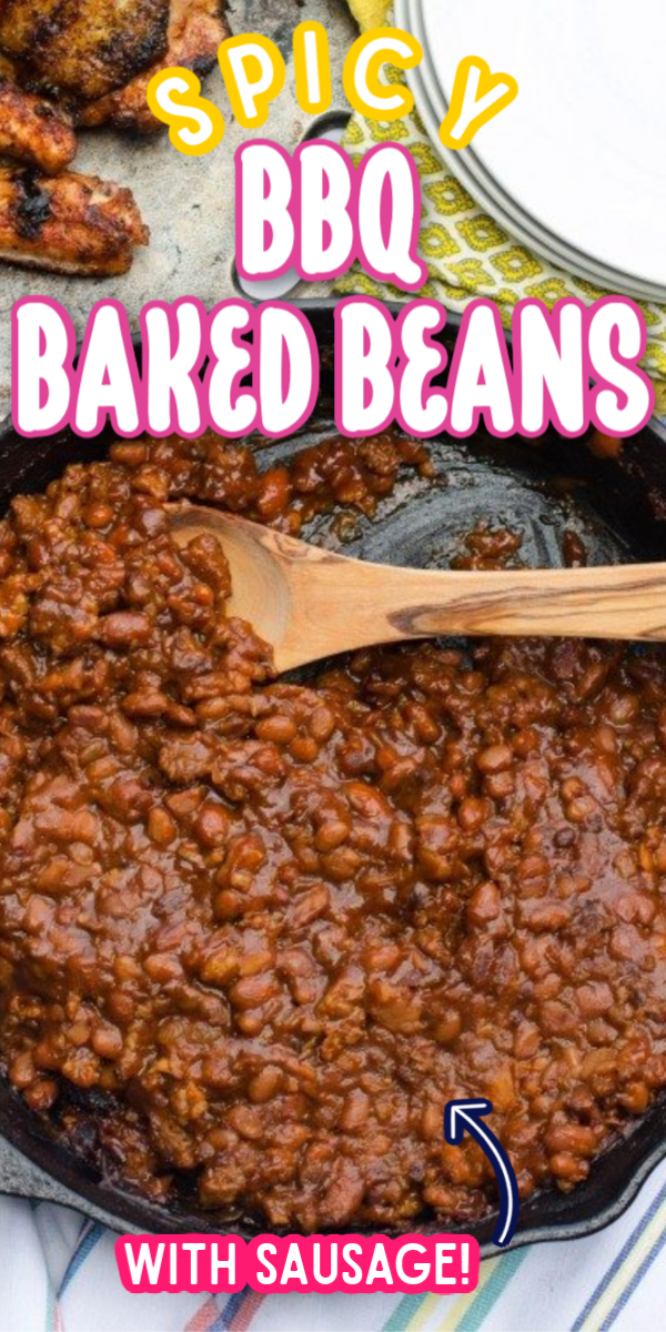 """This Spicy BBQ Baked Beans recipe can be made with ground beef or Italian sausage! This easy """"from scratch"""" recipe is even better than the Pioneer Woman version. Throw it in the crockpot for the perfect summer barbecue side dish! #gogogogourmet #spicybbqbakedbeans #bakedbeansrecipe #bakedbeansfromscratch via @gogogogourmet"""