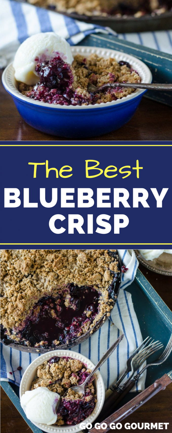 Move over Pioneer Woman, this is the BEST Blueberry Crisp recipe! Comparable to a cobbler, but with a delicious crumble on top, this dessert is perfect for summer! #bestblueberrycrisprecipe #blueberryrecipes #summerdessertrecipes #gogogogourmet via @gogogogourmet