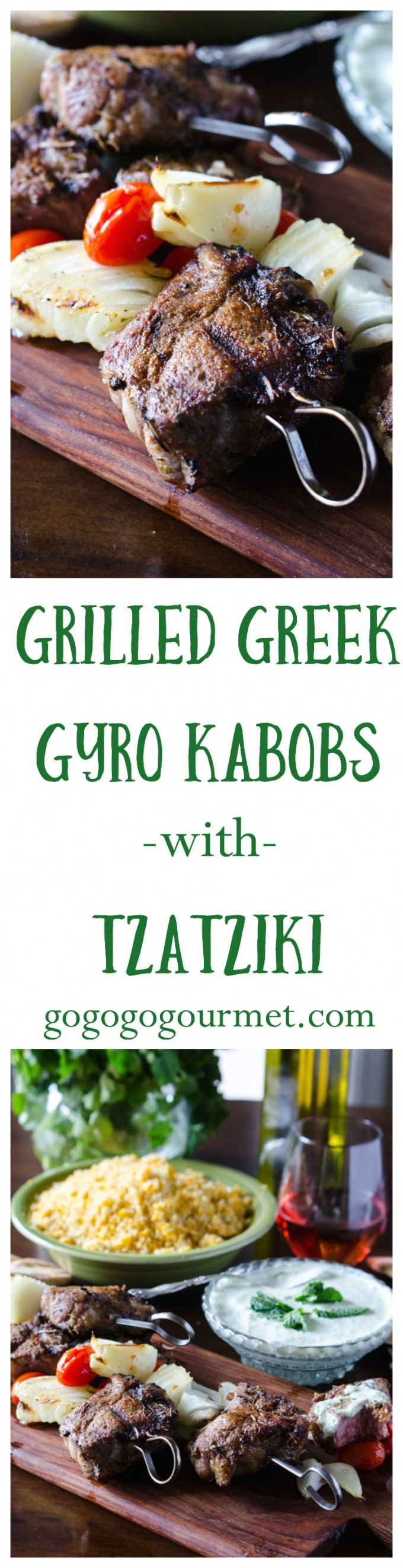 If you love a good gyro, you're going to LOVE this! Gyro seasoning is rubbed on lamb chops, then grilled kabob-style with tomatoes and onions. Don't forget the homemade Tzatziki sauce! Perfect as an appetizer OR dinner. | Go Go Go Gourmet @Go Go Go Gourmet via @gogogogourmet