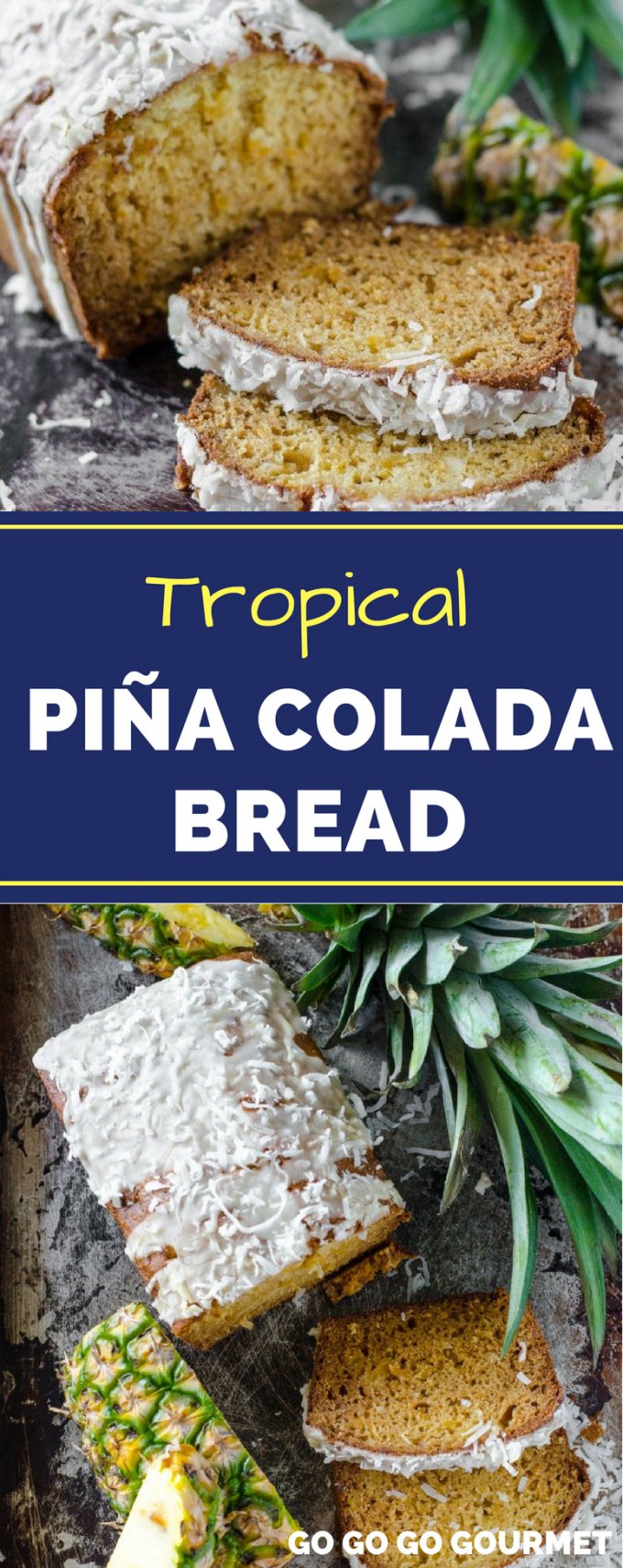 With crushed pineapple and coconut, this Pina Colada bread recipe will take you to the tropics with every slice! It's tropical flavors make an excellent dessert! #pinacoladabread #pineapplecoconutcread #pineappleloaf #gogogogourmet via @gogogogourmet