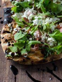 Grilled Flatbread with Prosciutto, Arugula, Goat Cheese & Balsamic | Go Go Go Gourmet @gogogogourmet