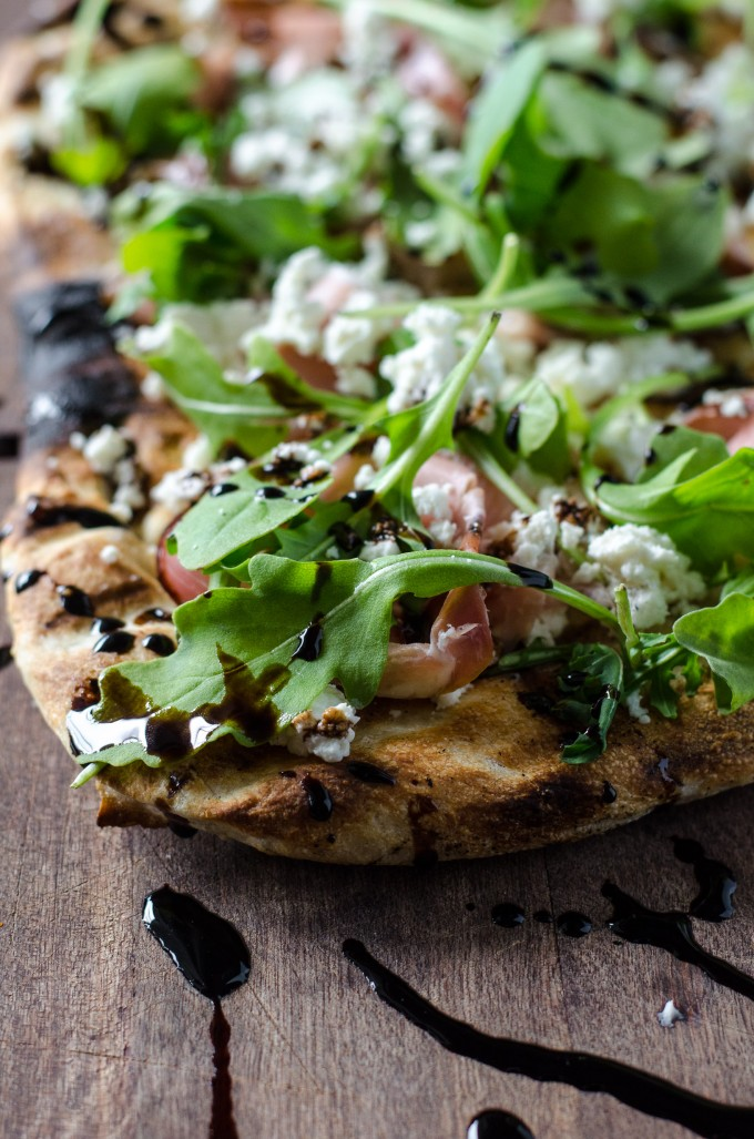Grilled Flatbread with Prosciutto, Arugula, Goat Cheese  Balsamic