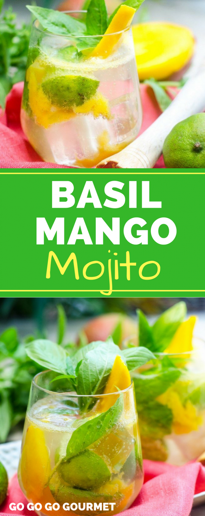 This easy Basil Mango Mojito recipe is the BEST! With fresh fruit like mango, and basil instead of the mint, this will be one of your new favorite summer cocktails. #basilmangomojitorecipe #easysummercocktails #summercocktailrecipes #gogogogourmet