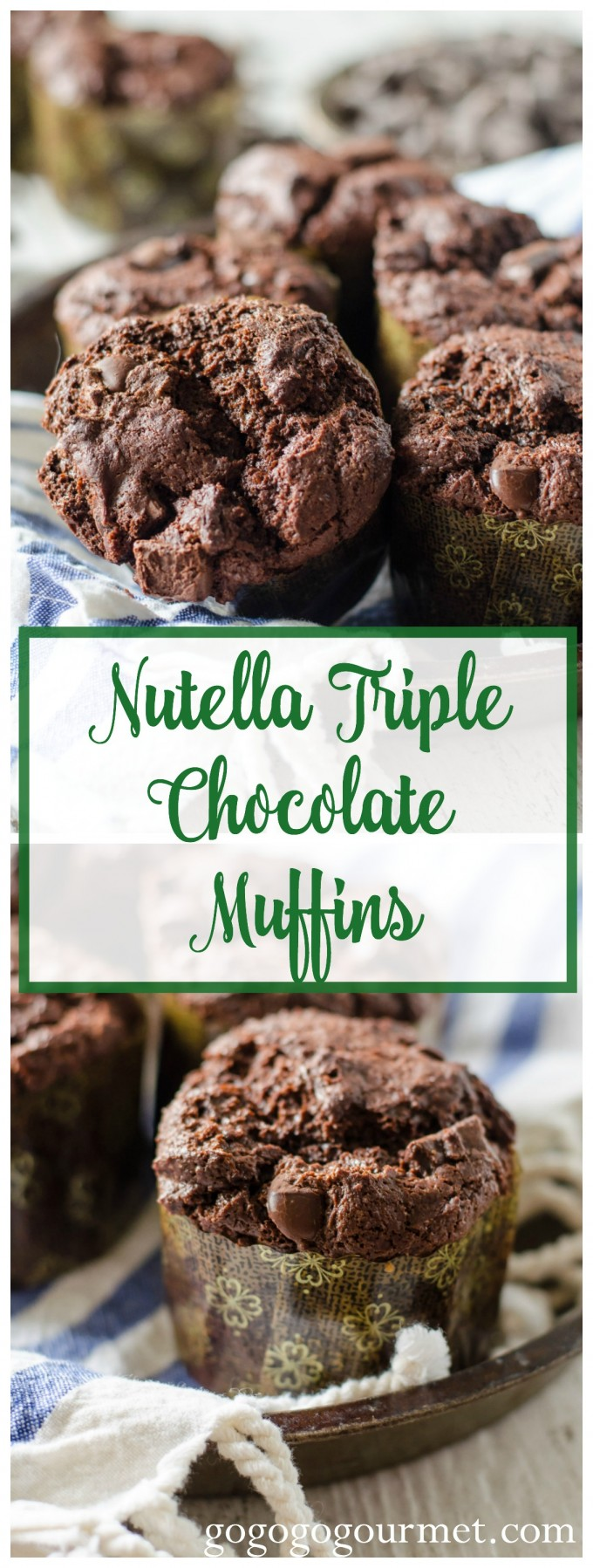 The sweetest way to start your day is with these muffins- you can never have too much chocolate right? Nutella Triple Chocolate Muffins | Go Go Go Gourmet @Go Go Go Gourmet 2d via @gogogogourmet