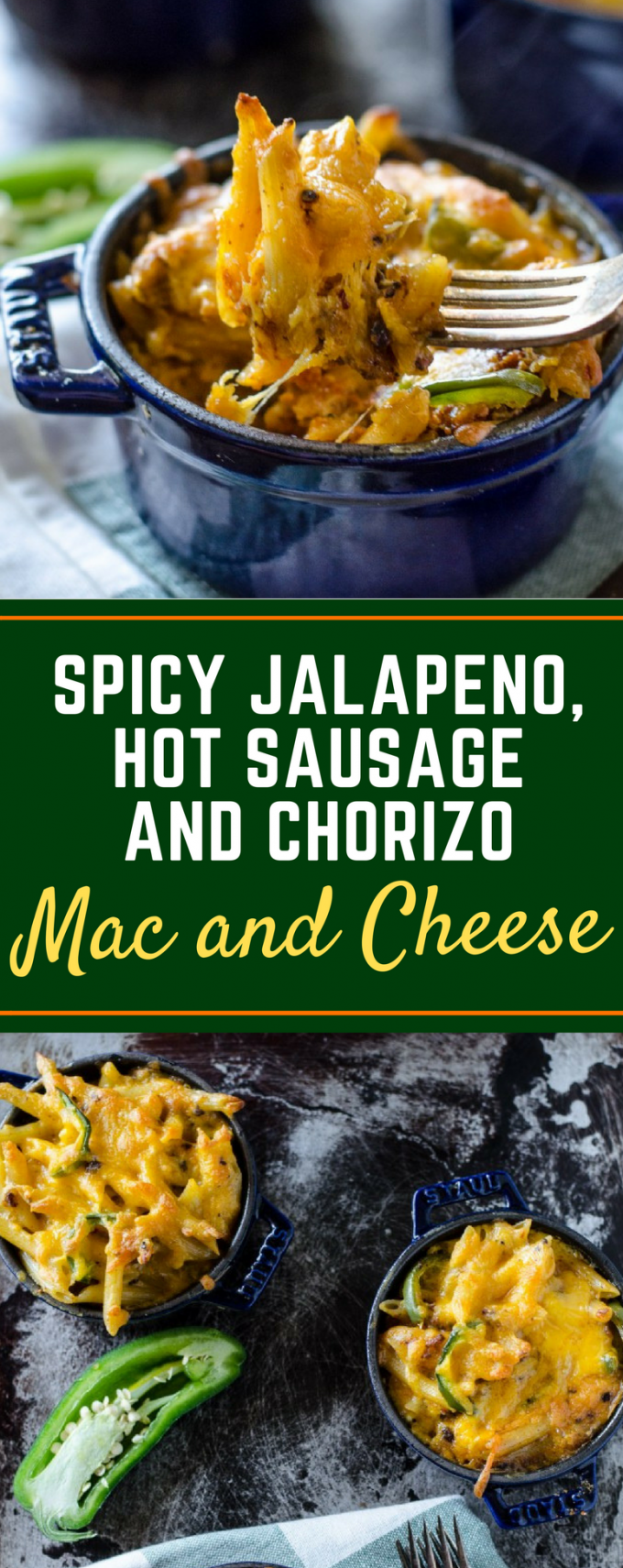 Forget the chicken and bacon, this Spicy Jalapeno, Hot Sausage and Chorizo Mac and Cheese recipe is baked right in the oven with creamy Velveeta cheese for a delicious weeknight meal! You could even throw it in the crockpot to make it easy! #homemademacandcheese #easymacandcheeserecipes #jalapenomacandcheese #gogogogourmet via @gogogogourmet