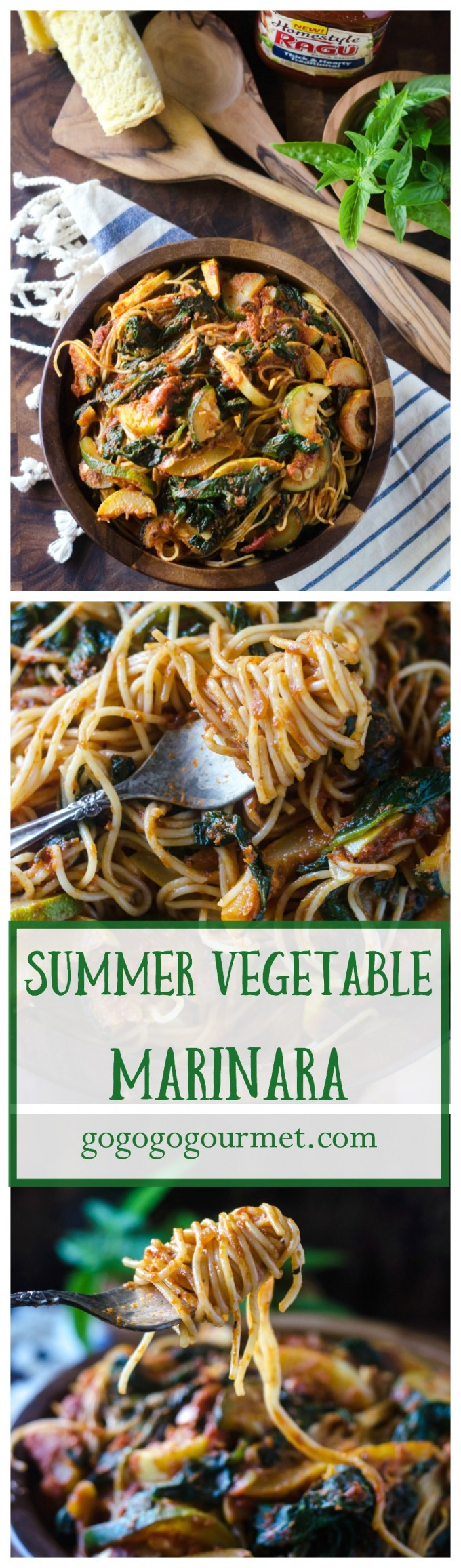 This quick weeknight pasta dish is packed with summer's bounty, and so hearty that you'd never guess it was vegetarian! | Summer Vegetable Marinara | Go Go Go Gourmet @Go Go Go Gourmet via @gogogogourmet