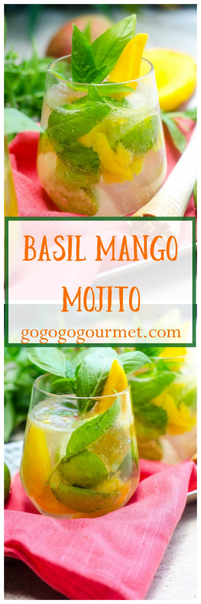 This classic gets a tropical twist thanks to sweet mango, and is a great way to use up some of that basil in your garden! Basil Mango Mojitos | Go Go Go Gourmet @Go Go Go Gourmet