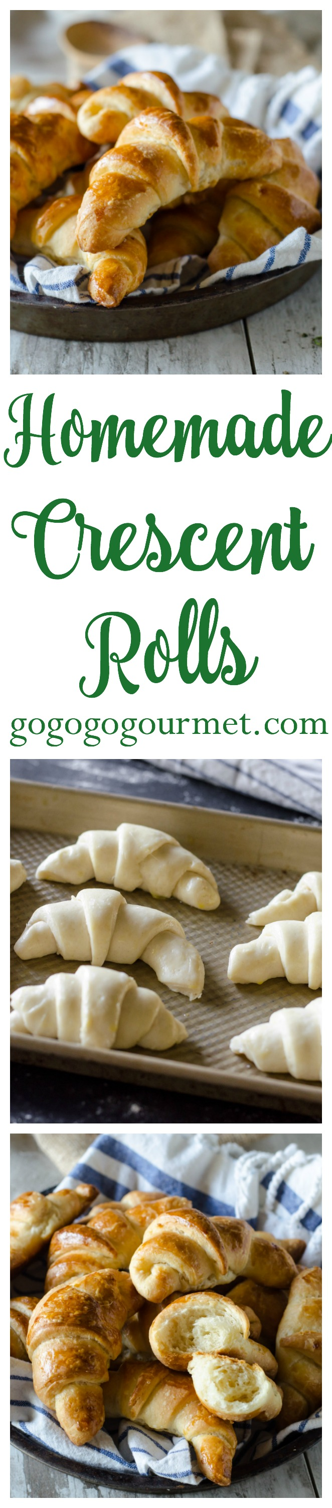These homemade crescent rolls are easier than you think to make- most of the work is chilling time! You may never buy those pop-cans again! Homemade Crescent Rolls | Go Go Go Gourmet @Go Go Go Gourmet