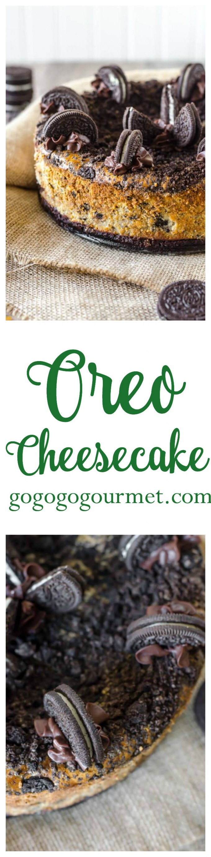 With FORTY Oreos in this cheesecake (plus a layer of chocolate ganache!), how could this be anything but incredible? Oreo Cheesecake | Go Go Go Gourmet @Go Go Go Gourmet