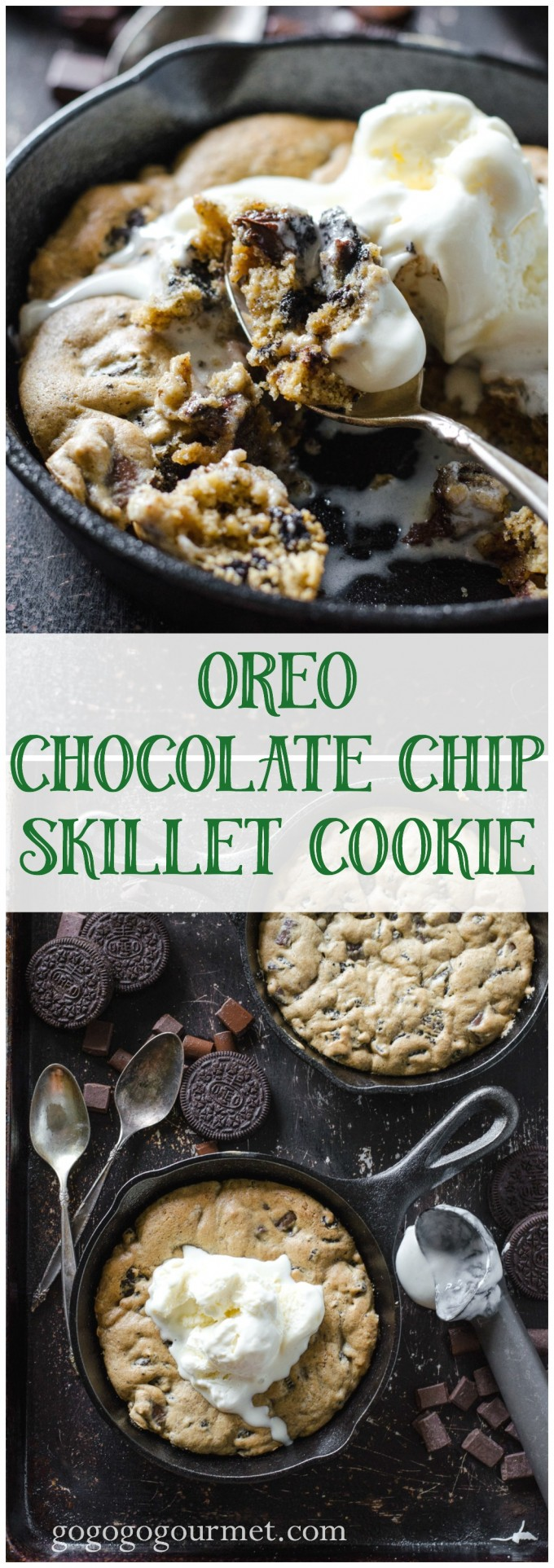 Unbelievable chocolate chip cookie, plus Oreo, warm from the oven and topped with ice cream. Did I mention it's single serving?? Oreo Chocolate Chip Skillet Cookie @gogogogourmet via @gogogogourmet
