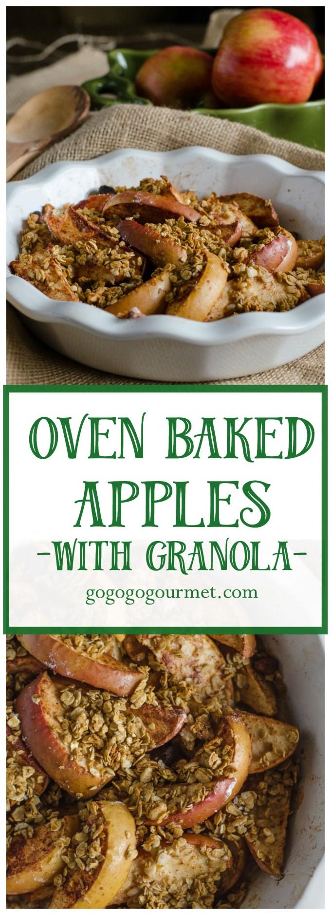 A new, super-easy fall side dish! Oven Baked Apples with Granola | Go Go Go Gourmet @gogogogourmet via @gogogogourmet
