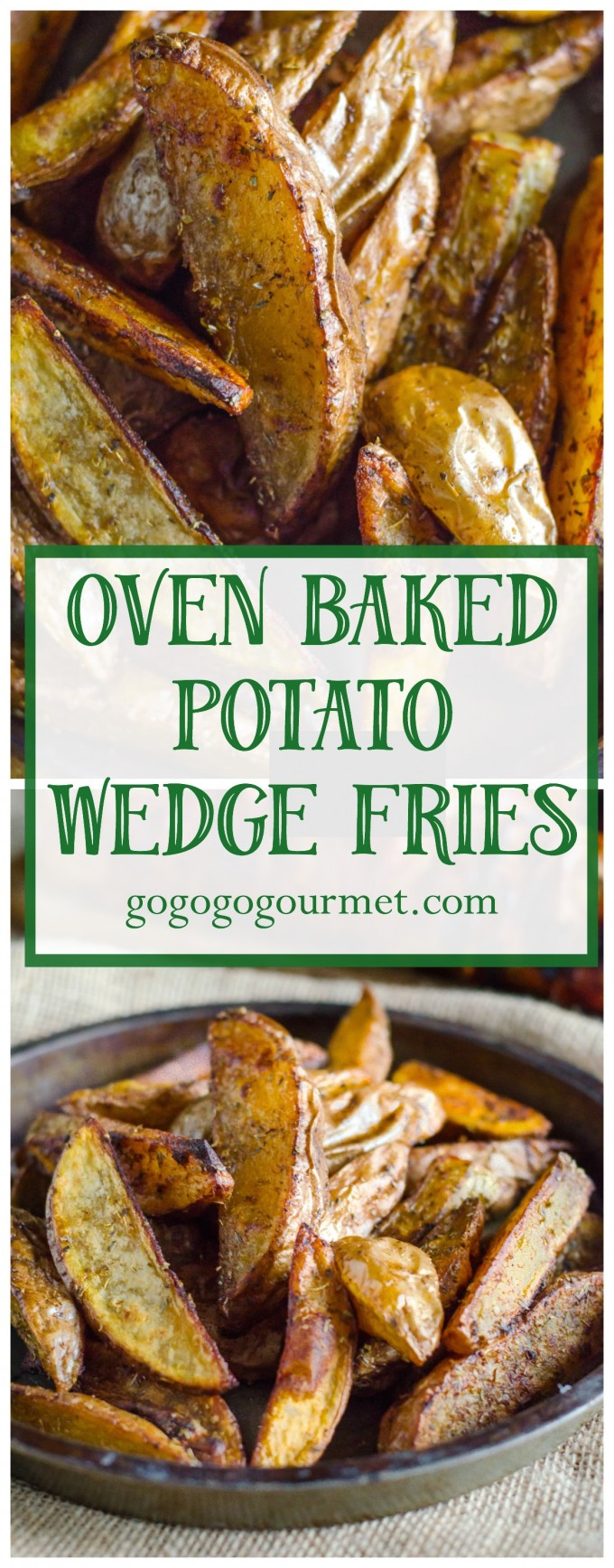 These Oven Baked Potato wedges are PERFECT- crispy on the outside, and soft and fluffy on the inside! Seasoned Oven Baked Potato Wedge Fries #gogogogourmet #ovenbakedpotatowedges #homemadefries #potatowedges #easysidedish via @gogogogourmet