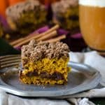 Pumpkin Coffeecake with Cinnamon Streusel and Apple Butter Filling @gogogogourmet